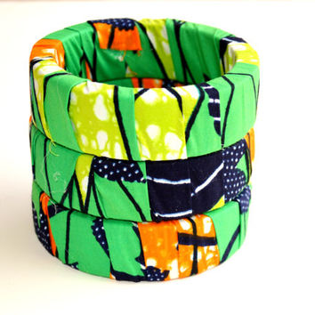 Green and Orange Wood Bracelet