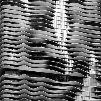 modern abstract architecture black and white print