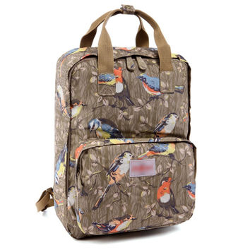 Women's Bird Printed Canvas Laptop Backpack School Bookbag Travel Daypack