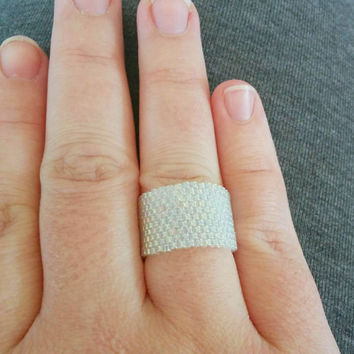 Wide Beaded Ring, Wide Ring, Ice Blue Ring, Mid Finger Ring, Thumb Ring, Tube Ring, Wide Band Ring, Wide Finger Cuff, Beaded Ring