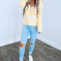 I've Got Sunshine Sweater: Canary/White