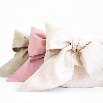 Nude blush and pink bridesmaid purses, silk wedding clutches, custom gifts