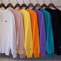 champion l s tee 18ss embroidery small logo long sleeve t shirt