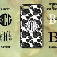 Monogram Black Roses in White Background iPhone 5 , 5s, 5c,4s, 4,Ipod touch 4, 5, Samsung GS3, GS4, GS5-Silicone Rubber or Hard Plase, cover