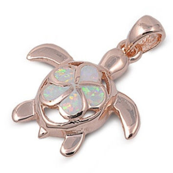 "Sterling Silver Lab White Opal Rose Tone Sea Turtle Pendant 23MM (Free 18"" Chain)"