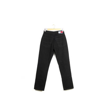 90s TOMMY HILFIGER high waisted black jeans / vintage 1990s / denim / classic / size 5/30 / womens size 5