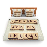 """Cristina Mitchell """"Be Awesome And Do Things"""" Wooden Letters Lightweight Duvet Cover"""