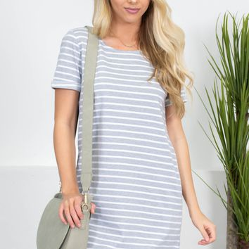 Vacay Grey Striped Pocket Dress