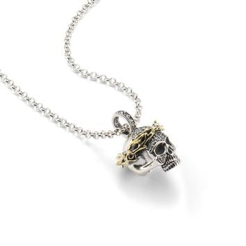 Crown of Thorns Skull with Crystals Pendant Necklace