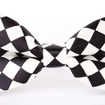 White & Black Chessboard Bow Tie