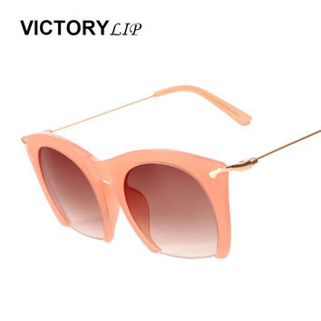 VictoryLip New Arrival Women Cat Eye Flat Top Oval Mirror Sunlgasses Fashion Brand Design Retro Lady UV400 Sun Glasses de sol