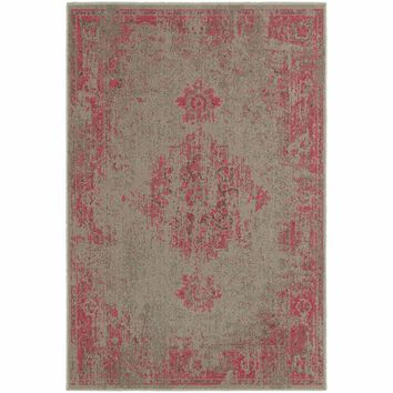 Revival Grey Pink Oriental Overdyed Traditional Rug