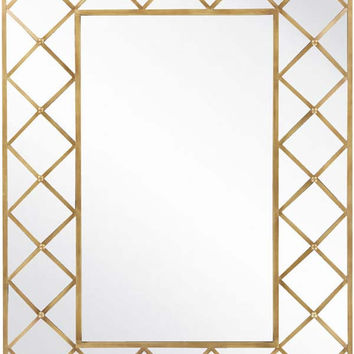 Bevealed Geometric Design Wall Rectangle Mirror Aged Gold - Home Decor | Surya
