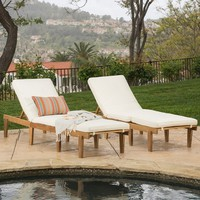 Paolo Outdoor Teak Brown Wood Chaise Lounge with Cushion Set of 2