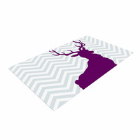 "Suzanne Carter ""Chevron Deer"" Purple  Woven Area Rug"