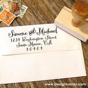 Custom Return Address Stamp with a curly calligraphy script font