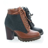 Tracker02 Chestnut By Bamboo, Wool Round Toe Lace Up Block High Heel Ankle Boots