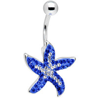 Blue Brilliance Gem Starfish Belly Ring | Body Candy Body Jewelry