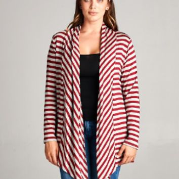 Burgundy Striped Cardigan