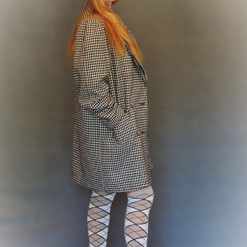 Vintage herringbone wool coat / plaid rustic cream black large trench / check warm fall winter jacket / new romantics boho grunge