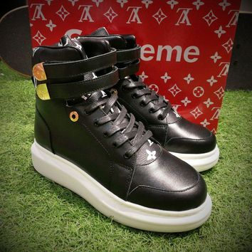 Best Online Sale Supreme x Louis Vuitton x ALEXANDER MCQUEEN HIGH Sneaker Luxury High top Black White Shoes
