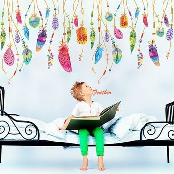 Feather Wall Sticker Classic Dream Catcher Sofa Art Decal Mural Lucky Room Decor