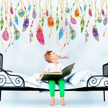 Feather Wall Sticker Classic Dream Catcher Sofa Art Decal Mural Lucky Kids Room Decor