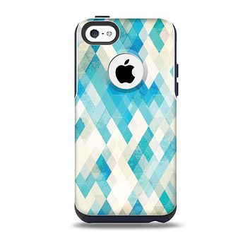 The Grunge Blue and Yellow Diamonds Panel Skin for the iPhone 5c OtterBox Commuter Case