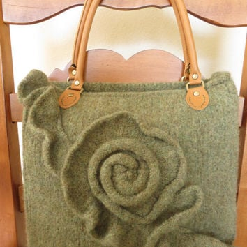 Green Rose, Felted Purse Pattern, Knit Bag Pattern, Felted Purse, Knitted Purse, Knitting Pattern, Instant Download, PDF
