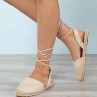 Closed Toe Espadrille Trim Ankle Wrap Sandal | MakeMeChic.COM