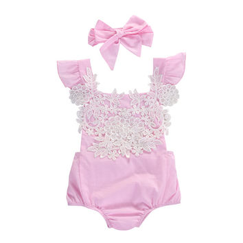 Flower Pink Jumpsuit Headband Outfits Baby Clothing Sunsuit Newborn Infant Baby Girls Lace Floral Clothes Bodysuits 0-18M