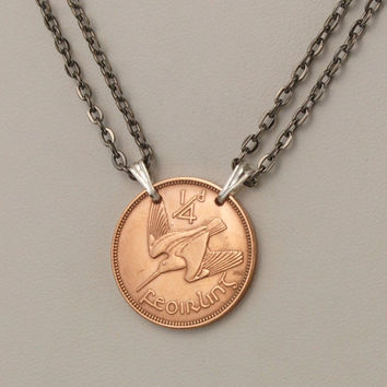 Irish Coin Necklace 1959 Farthing Woodcock Bird by donnakbaker