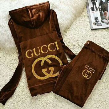 Gucci Fashion Casual Long Sleeve Zipper Hoodie Long Pants J Velvet Two Piece Set Brown G-ALNZ