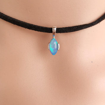 BlUE FIRE OPAL Women Fashion Jewelry Gemstone Silver Pendant