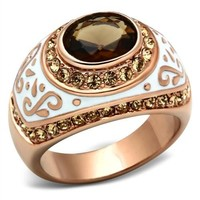 Rose Gold Brown Glass and CZ white Enamel Ring