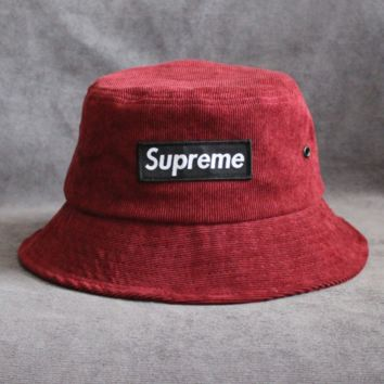 Supreme Women Fashion Letter Logo Beret Cap Painter Hat Red