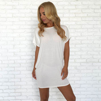 Simply Crossed T-Shirt Dress In Ivory