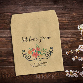 25 x Seed Packet Wedding Favor Bag Envelopes Small Natural Kraft Eco Recycled Gift Let Love Grow Garden Favour Storage Woodland Thank You