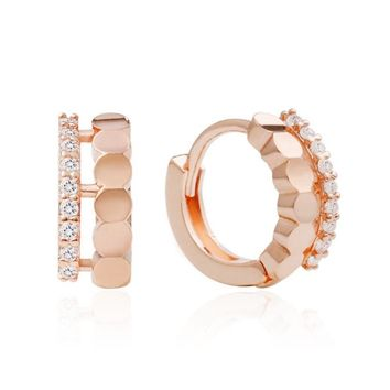 Sophia Small Hoop Crystal Earrings with 14K Gold Pin