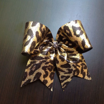Gold & Black Cheetah Cheer Bow