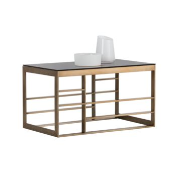 JOAN BRUSHED ANTIQUE BRASS STAINLESS STEEL WITH BROWN TEMPERED GLASS TOP END TABLE