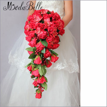 2016 Customized Red Bridal Bouquet Silk Cascade Rose Bouquet For Brides Holding Flowers Elegant Teardrop Wedding Buque Vermelho