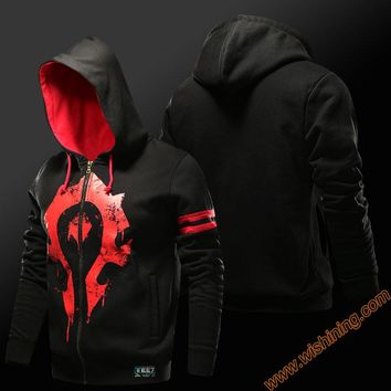 Quality WOW Horde Hoodie Alliance Logo Hooded Sweatshirt Men Black 3xl 4xl Large size Coats Zip Up wow cosplay costumes
