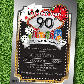 Poker Playing Card Gold birthday invitation, Casino theme gold glitter design invitation for any age 30th 40th 50th 60th 70th 80th card 544