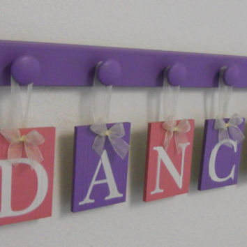 DANCE Art for Teenagers Room Sign - 5 Wood Knobs Painted Lilac. Purple and Pink Wall Letters DANCE