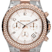 Michael Kors Clear Resin Rose Gold & Crystals MK5323 Watch