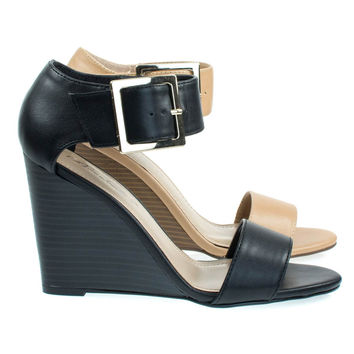 Carey05 Black By Breckelle's, High Heel Wedge Sandal w Faux Stacked Wood & Large Buckle