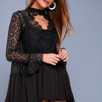 New Tell Tale Black Lace Long Sleeve Tunic
