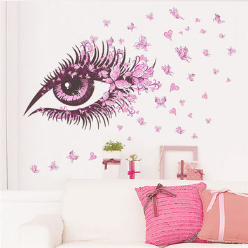 Sexy Fairy Flower Girl Eye butterfly LOVE heart Wall Sticker Home Decal Girls Bedroom Room Sofa Decoration Wall Art Poster