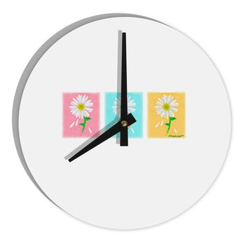 "Pretty Daisies Watercolor 8"" Round Wall Clock"